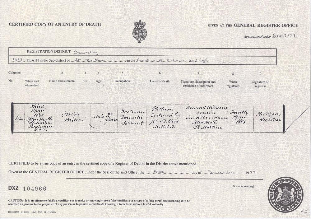 Joseph Britton's Death Certificate
