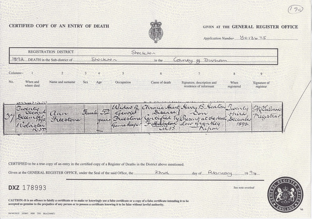 Ann Freestone's Death Certificate