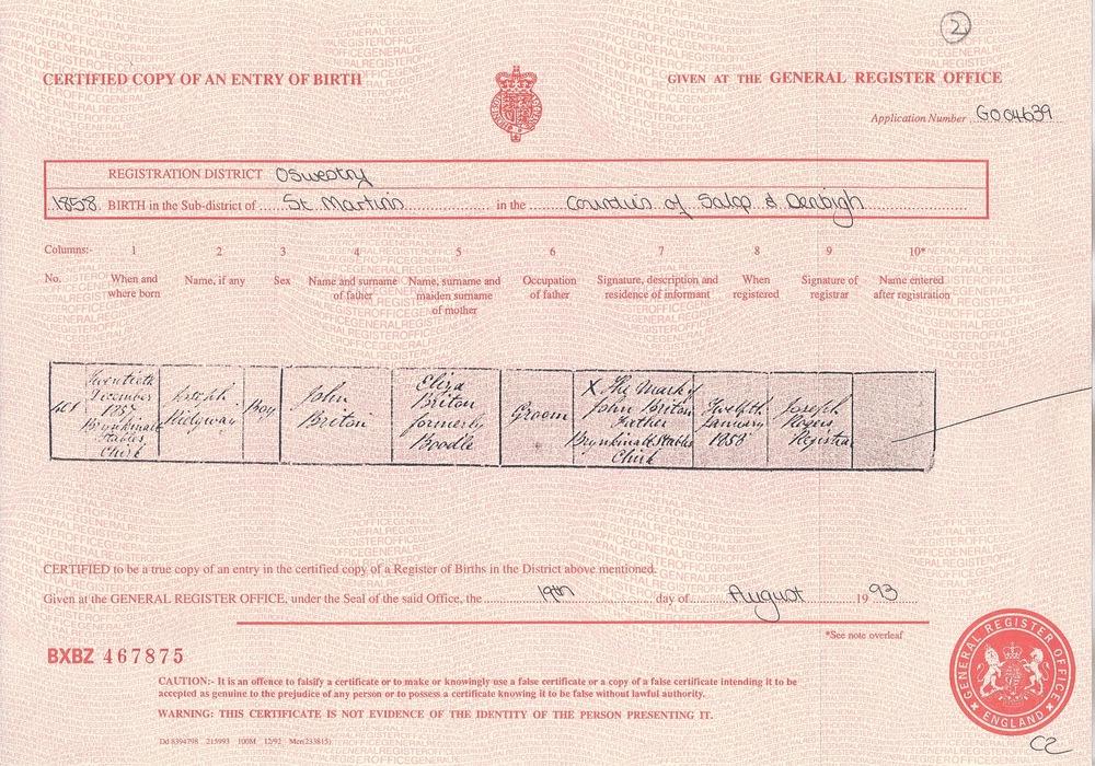 Joseph Ridgway Britton's Birth Certificate