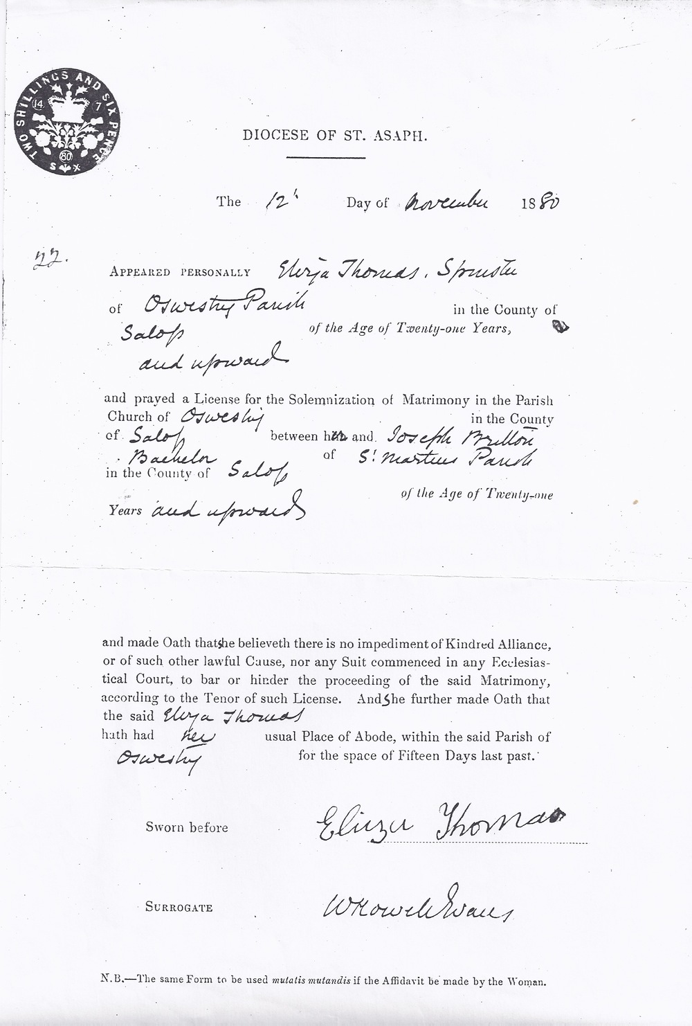Marriage Licence for Joseph Britton and Eliza Thomas