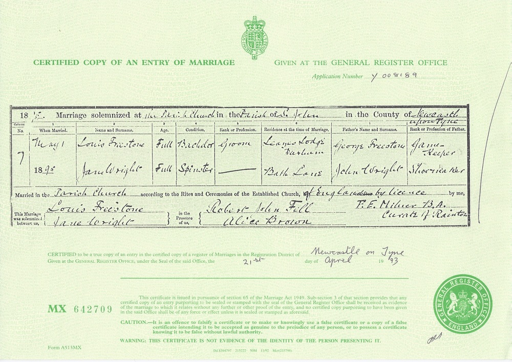 Marriage Certificate for Louis Freestone and Jane Wright