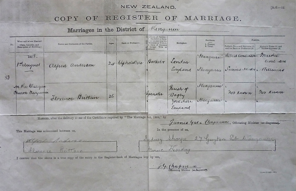 Marriage Certificate for Alfred Anderson and Florence Britton (Brittain)
