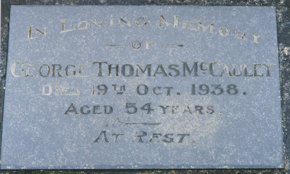 Grave of George Thomas McCauley