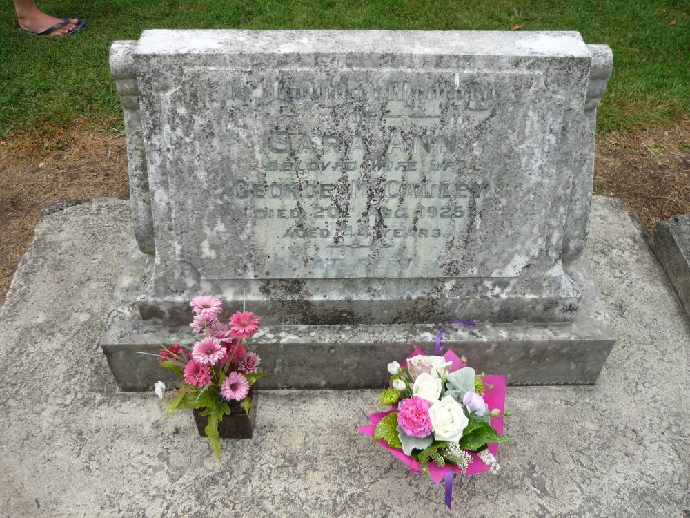 Grave of Sara(h) Ann McCauley (nee Ford)