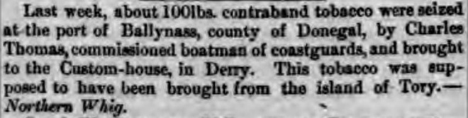 Report in  Dublin Evening Mail of 30 August 1861 of tobacco seizure by Charles Thomas