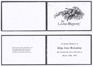 Eliza Jane McCauley's Memorial Card