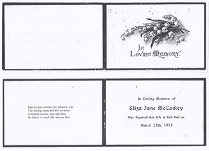 Eliza Jane McCauley's MemorialCard