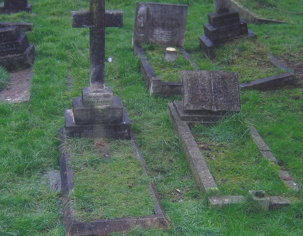 Cross Re-fixed on Graves of Robert Jnr. Anderson and Three Children in 2014