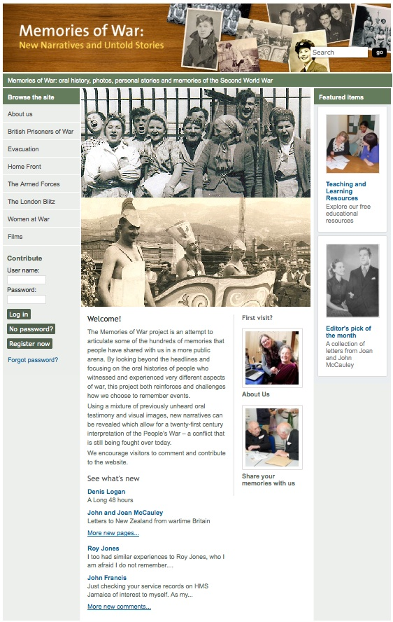 Memories of War Website-- Editor's pick of the month for April 2014, a collection of letters from Joan and John McCauley