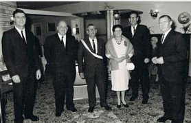 50th Anniversary of Hec Corney joining Wanganui Furniture (ca. 1966); from left Allan (Bunt) A., Jack W., Hec C., Mrs. C., Eric A. and Ian A.