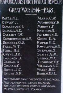 War Memorial Kaponga- Faull W.T. and Faull H.J.