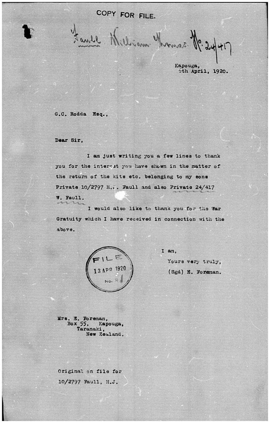 Letter written by Elizabeth Ann Foreman in 1920 relating to her sons' war kits and a war gratuity