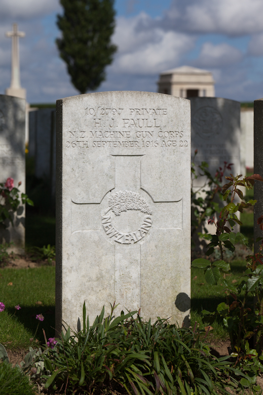 Grave of Henry James Faull, A.I.F. burial ground, Flers, grave !.E.5.