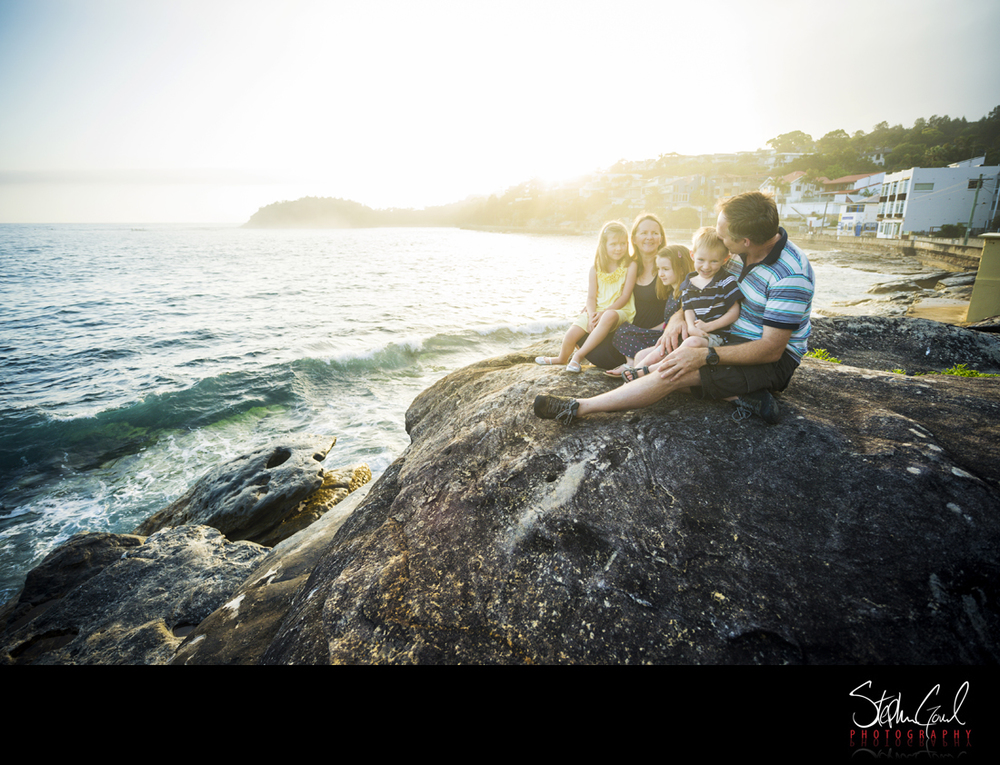morning light family portrait shelly beach