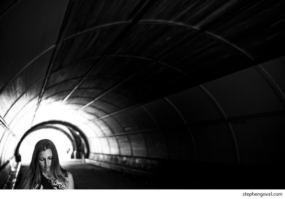 brooklyn portrait light tunnel black and white yoga
