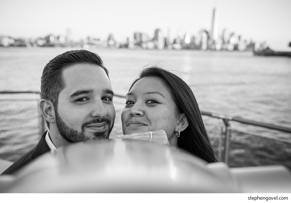 hoboken engagement nyc skyline sunset
