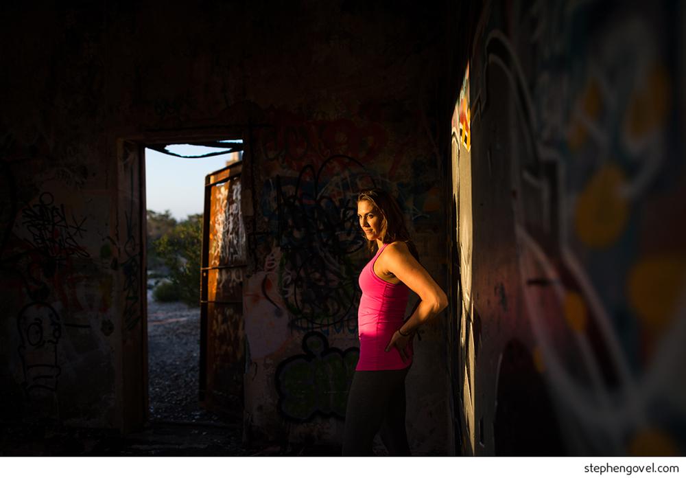 sydney northern beaches headland backlit yoga meditation wellbeing portrait
