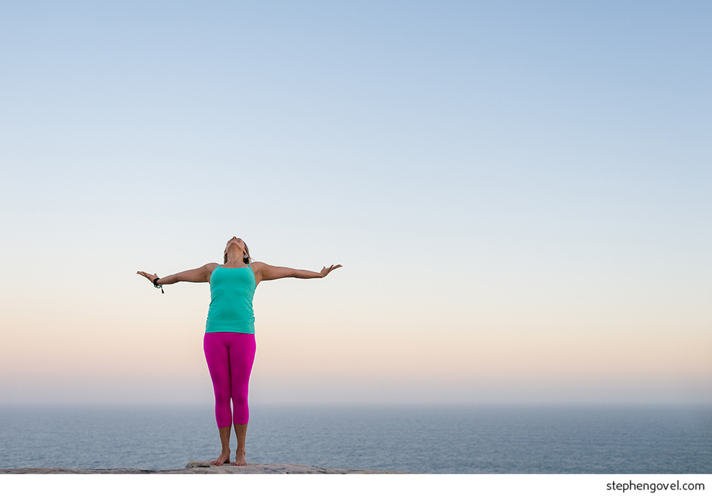 sydney northern beaches headland backlit yoga meditation wellbeing portrait