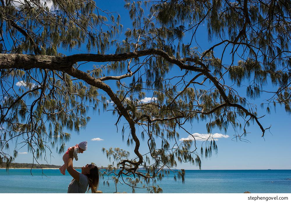 woolgoolga woopi family beach baby bub trees