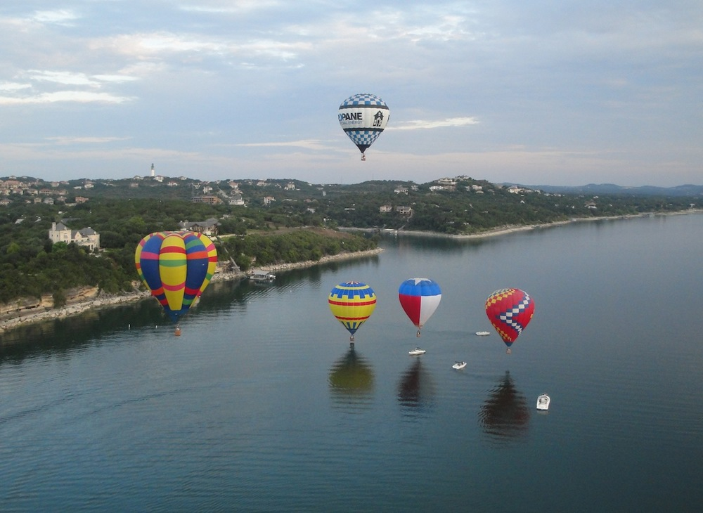 Balloons launching from Mansfield Dam Park Photo by Lloyd Cates