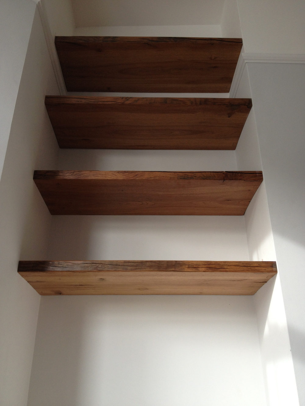 Solid oak reclaimed shelves