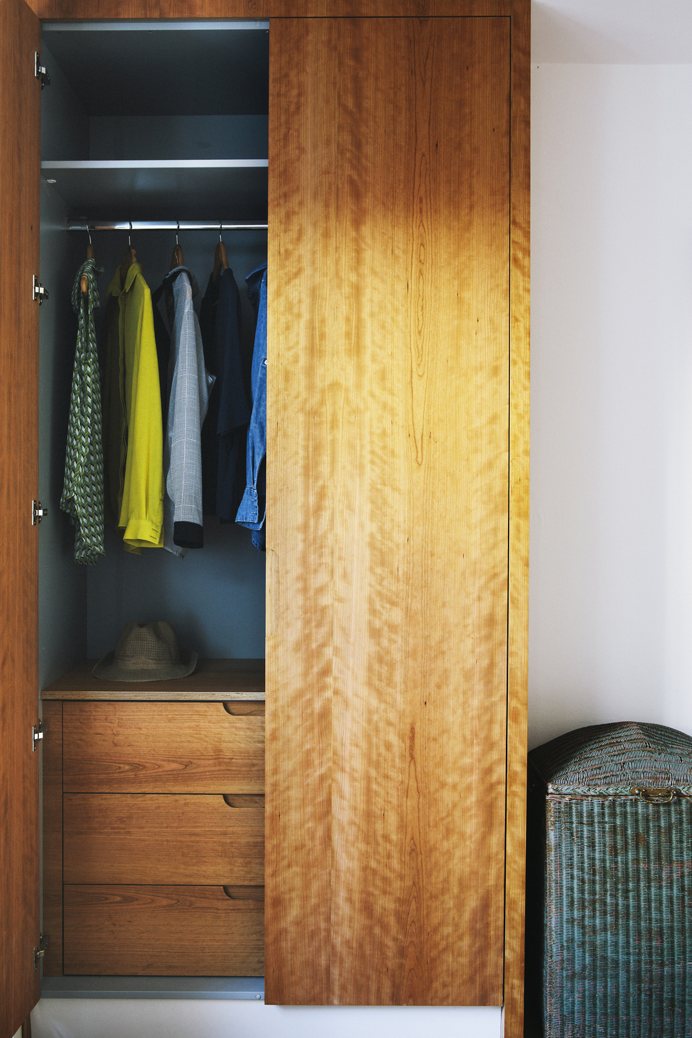 Wardrobe made from cherry-veneered birch ply.