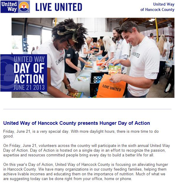 UW of Hancock County's e-newsletter - Hunger Day of Action.JPG