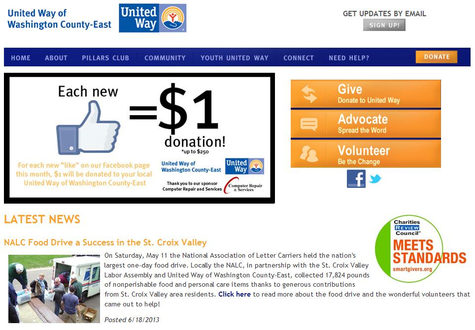 UW of Washington County-East homepage.JPG
