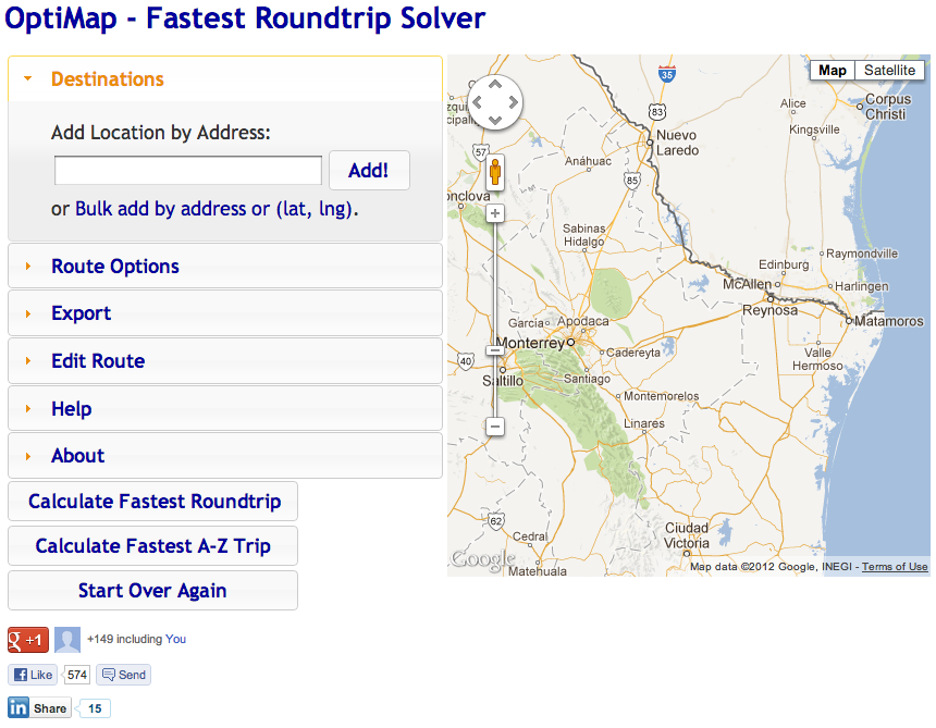 OptiMap - Fastest Roundtrip Solver
