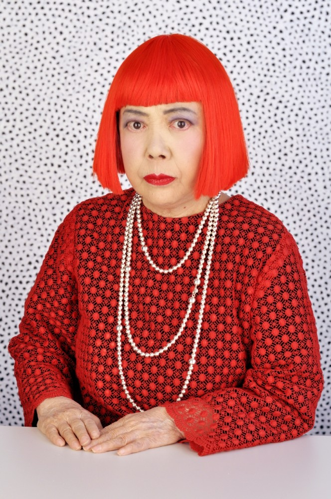 Yayao Kusama Japanese artist red hair dress with red polka dots.jpg