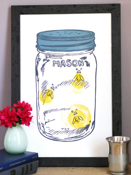 The Old Try Print Shop print of lightning bugs in a mason jar.jpg