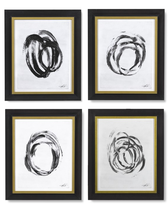 Williams Sonoma Abstract Brushstrokes framed wall art by Thom Felicia black and white.jpg