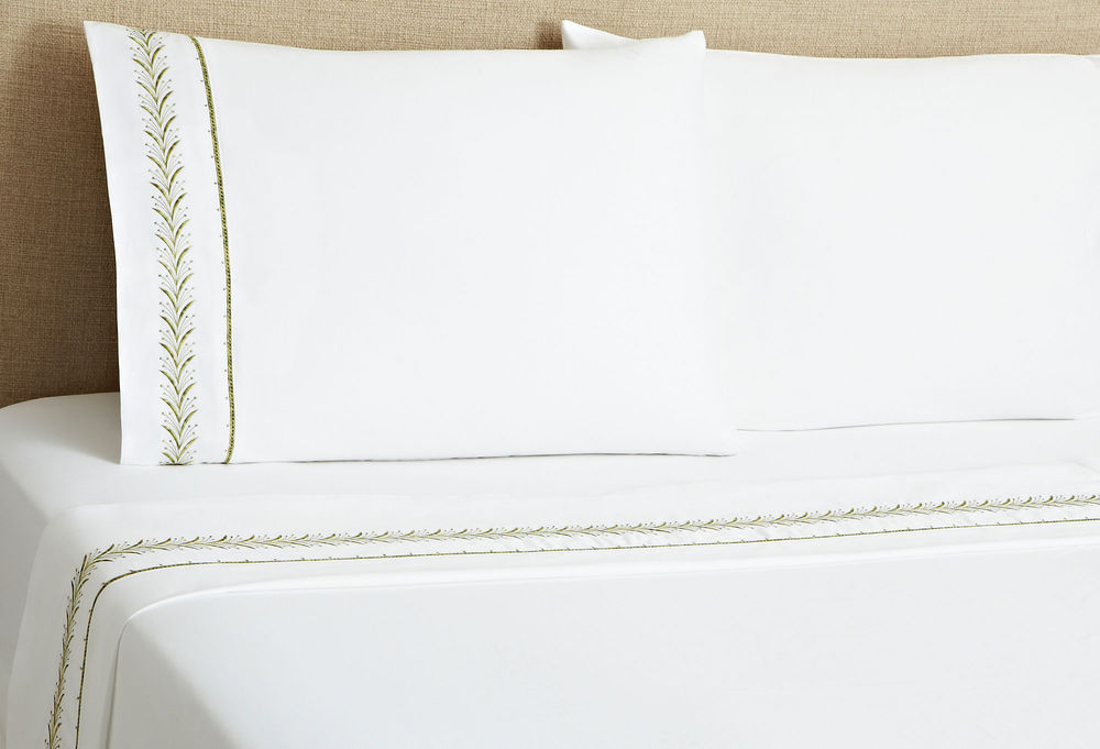 Caravelle's Fern Sheet Set in green adds an organic, crisp, freshness to bed linens.