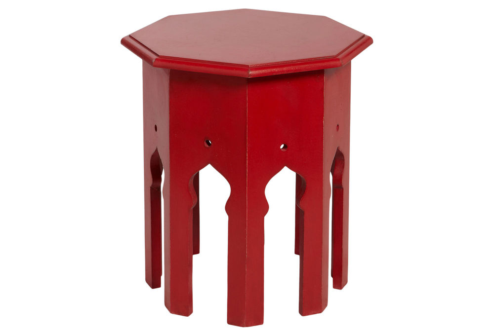 This Moroccan side table will give your bedroom a splash of passionate red.