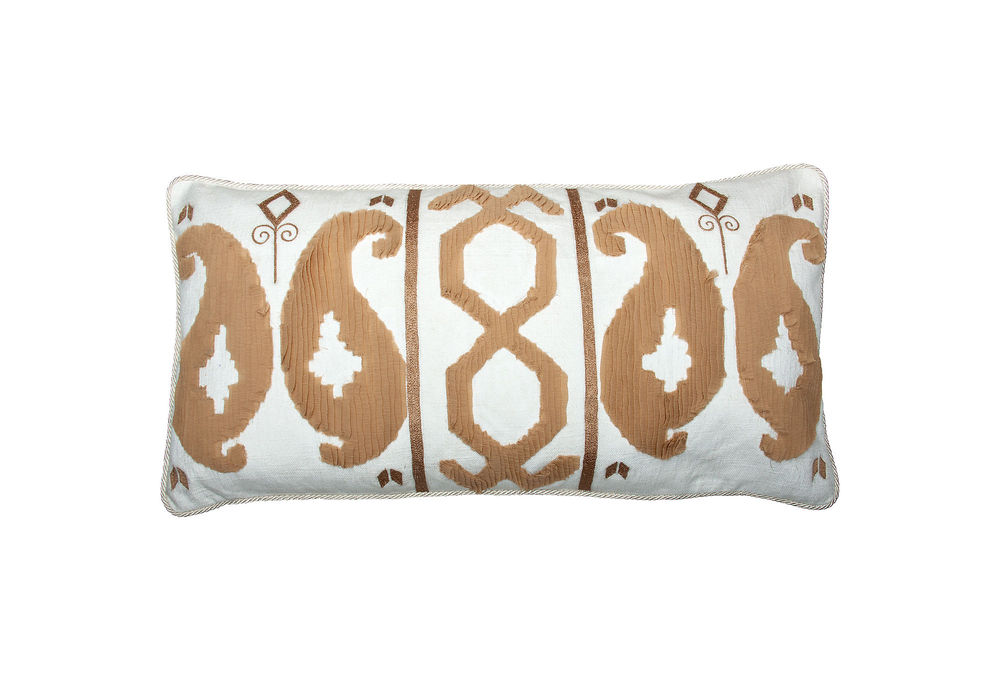 This Romance Ikat Pillow from Vanderbloom is a great 15 x 30 size for beds or bedroom seating.