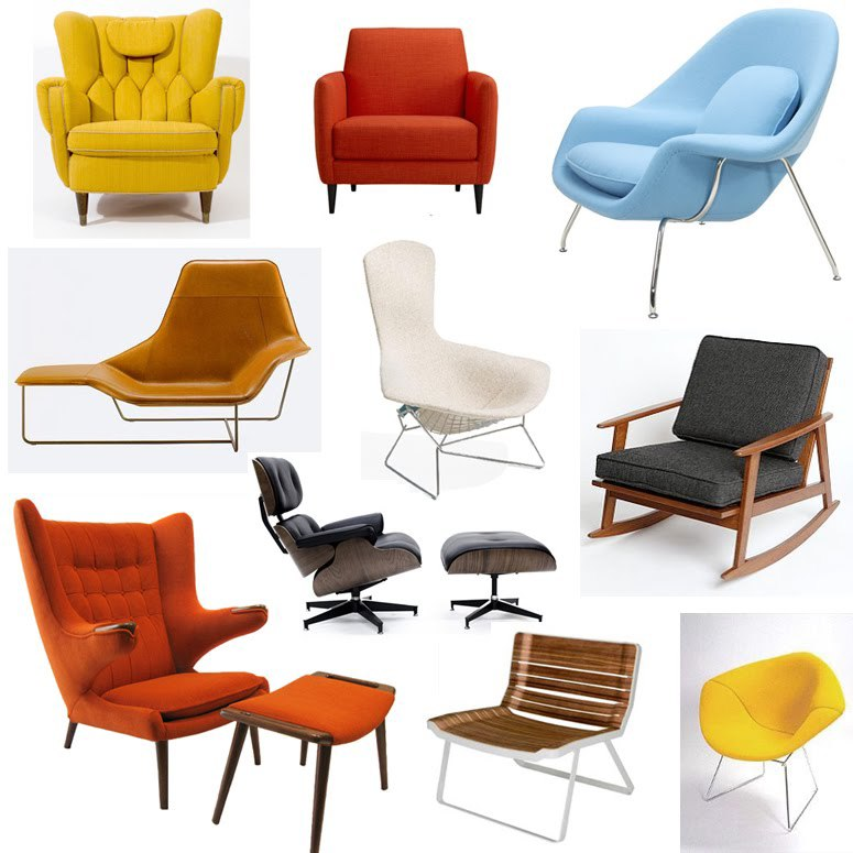collection of mid century modern chairs and loungers.jpg