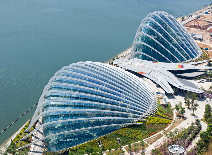 Gardens by the Bay Singapore aerial view new buildings by the ocean.jpg
