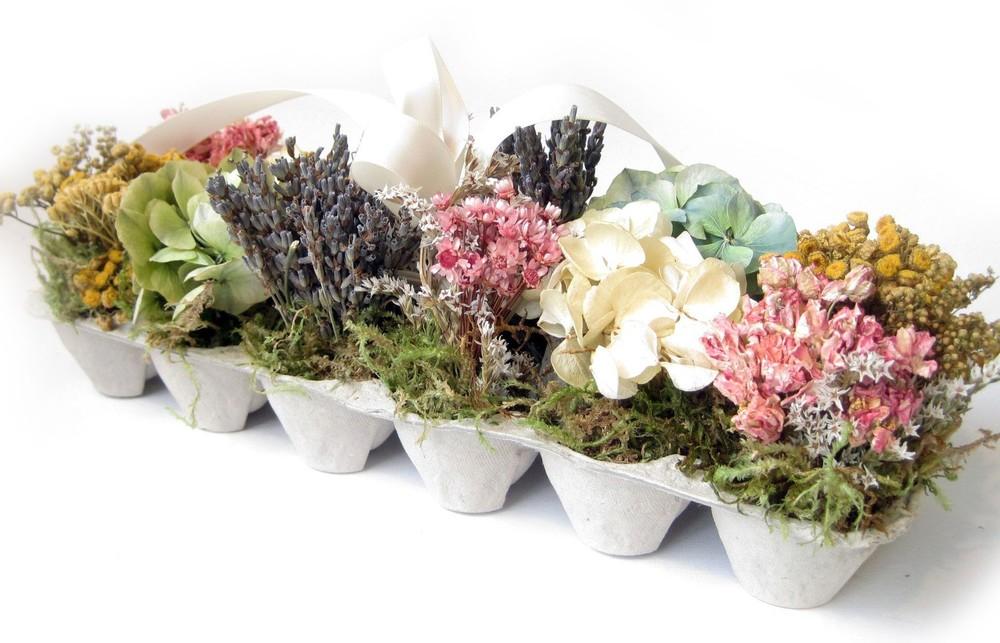 Egg carton dried flower arrangement on etsy