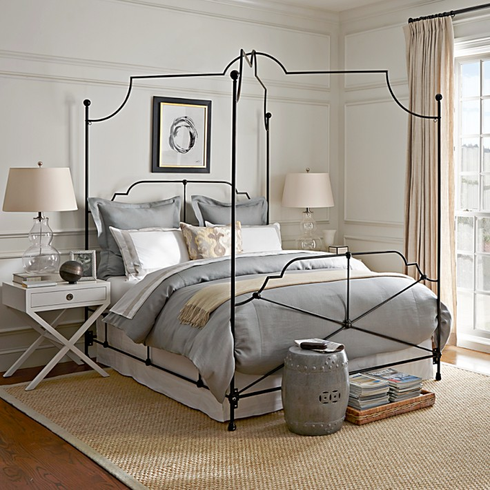The Veronique Canopy Bed embraces French antique style, a perfect addition to a New Traditional interior.