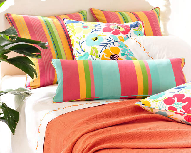 June and July Stripe pillows from Pine Cone Hill