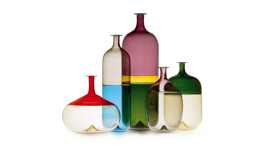 An assortment of Tapio Wirkkala's Bolle Bottles would be striking as a contemporary centerpiece.