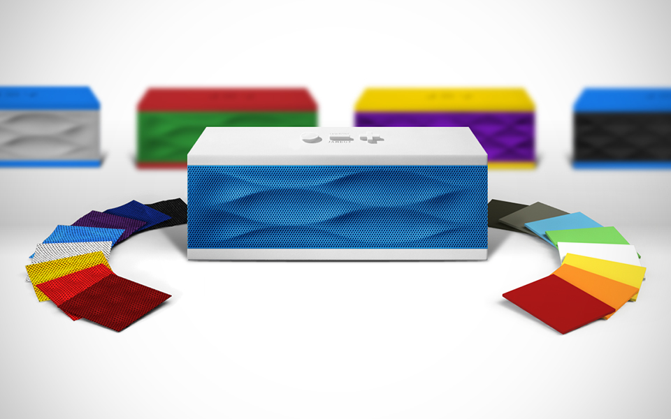 Jawbone's Jambox - chic, compact wireless stereo speakers for your personal music collection. Pictured here is The Remix - a kit to personalize your own color combo.