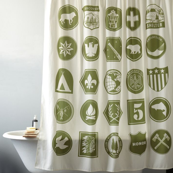 This one's a hoot: West Elm's Scout Shower Curtain is a stylized take on merit badges.
