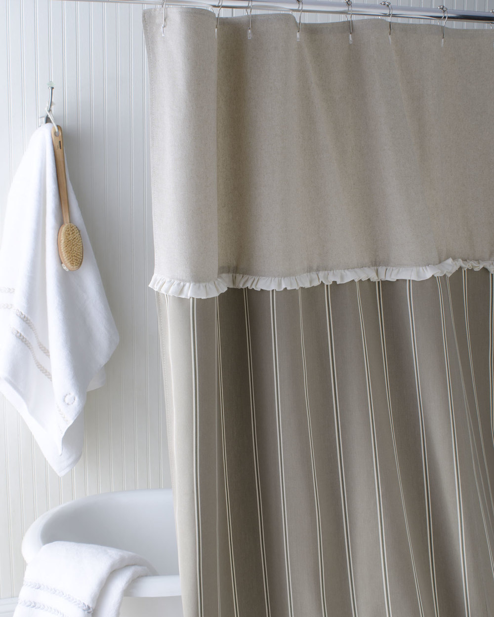 Elegant, sophisticated: French Stripe Shower Curtain from French Laundry Home