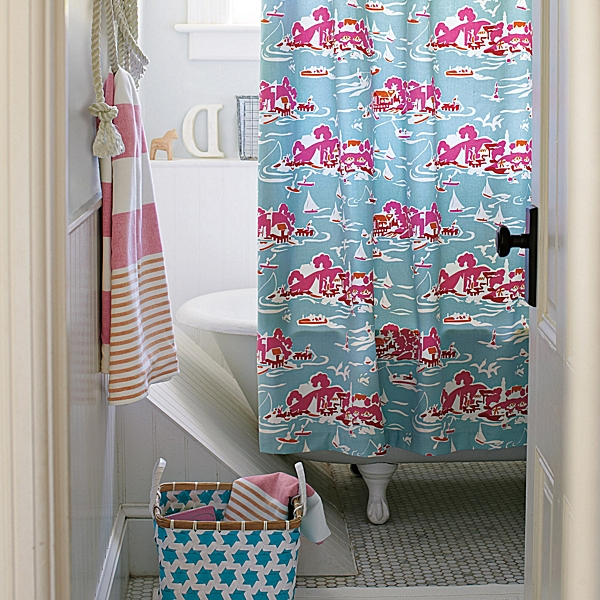 Beachy vibes: Skylake Toile Shower Curtain from Serena and Lily