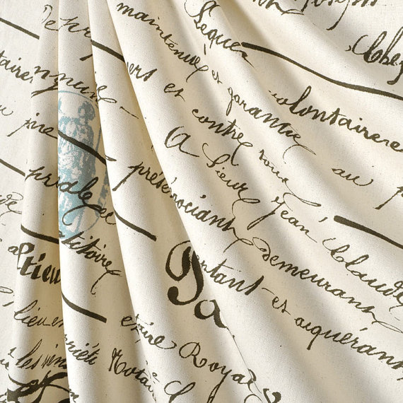 Loved this classy fabric: French Penmanship Style Shower Curtain with Blue Stamp on Etsy