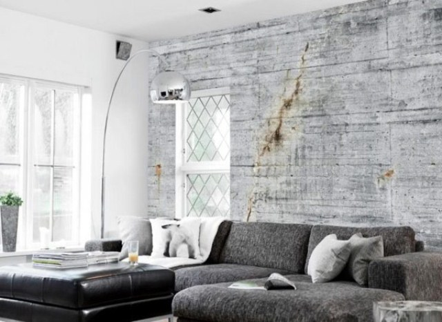 This living room gets a distressed, cracked concrete wall.
