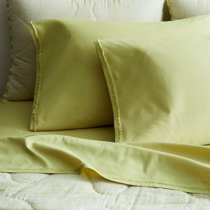 Organic Cotton Frayed-Edge Sheet Set in Leek from West Elm