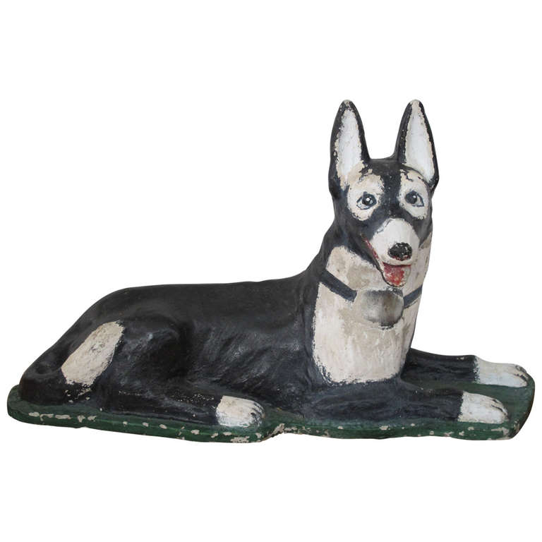 Folk Art Dog Garden Sculpture, painted cement