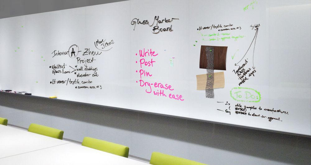 Bendheim Architectural's magnetic glass wall surfaces are perfect for walls or marker boards.